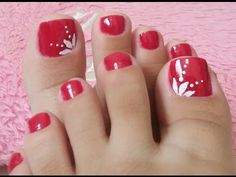 UNHAS DECORADAS PARA OS PÉS EM VERMELHO - YouTube Pretty Toe Nails, Cute Toe Nails, Gel Nails, Acrylic Nails, Toenail Art Designs, Pedicure Designs, Pedicure Nail Art, Toe Nail Color, Edgy Nail Art