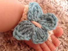 Crocheted Butterfly Barefoot Sandals, Baby Booties, Crochet
