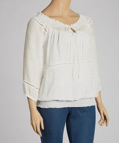 Love this Ivory Peasant Tunic - Plus by Simply Irresistible on #zulily! #zulilyfinds