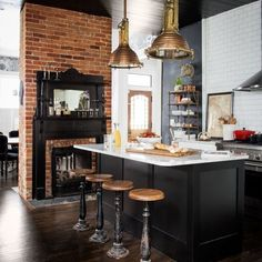 Exposed brick, black paint, industrial style, marble work tops, love it all #interiors #kitchen #inspiration #industrial #interiordesign