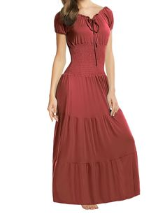 Meaneor Stylish Ladies Women Short Sleeve Tunic Ruffle Elastic Solid Maxi Dress