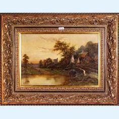 Lot 235-Walter Wallor Caffyn Original oil on canvas Signed River Landscape With Cottages c1880
