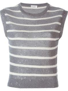 Brunello Cucinelli striped speckled Шёлк 25% Лён 75%