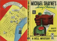 book cover: Dell Map Back mystery Michael Shayne's Long Chance (Dell #112) by Brett Halliday with New Orleans murder scene map ... from series of mystery paperback books published 1942-1952 incorporating illustrative maps on the back cover, USA