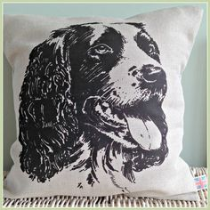 Spaniel British Working Dog Cushion with feather pad