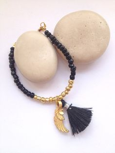 Black Tassel Bracelet - Angel Wing Bracelet - Gold Seed Bead Jewelry