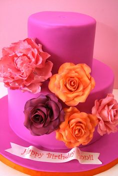 Bright Sugar Roses and Peony Custom Birthday Cake New Jersey