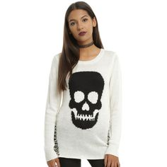 Hot Topic Ivory & Black Skull Destructed Girls Pullover Sweater ($26) ❤ liked on Polyvore featuring tops, sweaters, skull top, skull sweater, ivory knit sweater, skull pullover and torn sweater