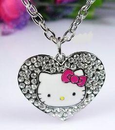 Hello Kitty Crystal Heart Pendant Necklace