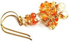 ON SALE, Sparkly Orange Cluster Earrings, Multi Gemstone Earrings, Carnelian, Sapphire, Citrine, Apricot Quartz, Gold Vermeil Luxe Earrings