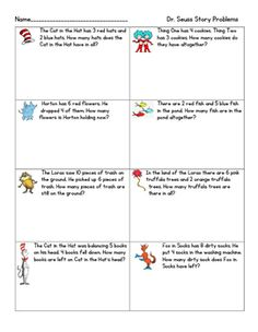 Seuss Story Problems: These Dr. Seuss story problems are themed after his popular books. The story problems are mixed addition and subtraction of each kind).Great to use during the week of Dr. Dr. Seuss, Dr Seuss Activities, First Grade Activities, Math Story Problems, Word Problems, Second Grade Math, First Grade Reading, Dr Seuss Stories, Pre K Math Worksheets