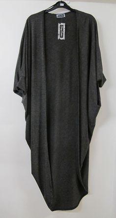 batwing kimono | Lagenlook Long Batwing Kimono Dark Grey