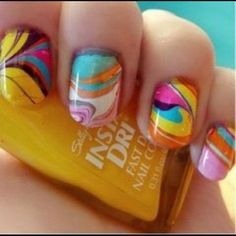 We love marble nails! These are so bright and fun!