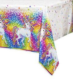 "Rainbow Majesty by Lisa Frank Plastic Tablecloth, 84"" x 54&#34…"