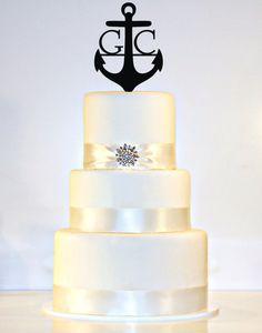 Anchor Wedding Cake Topper Monogram in ANY LETTER A B C D E F G H I J K L M N O P Q R S T U V W X Y Z
