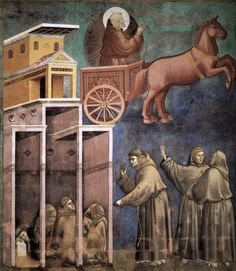 GIOTTO di Bondone Legend of St Francis: 8. Vision of the Flaming Chariot 1297-99 Fresco, 270 x 230 cm Upper Church, San Francesco, Assisi