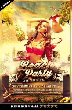 Beach Party Flyer Template PSD. Download here: http://graphicriver.net/item/beach-party-flyer/15796721?ref=ksioks