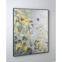 """John-Richard Collection """"Silver Garden"""" Original Painting (171,570 INR) ❤ liked on Polyvore featuring home, home decor, wall art, multi colors, silver home decor, silver home accessories, floral paintings, oil painting and garden wall art"""