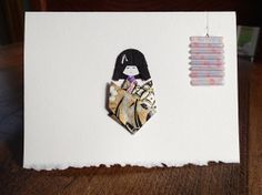 Japanese Doll Card  Girl black and gold 3.5 x 5 by ChiyogamiCrafts, $5.00