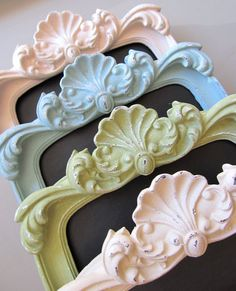 Shabby chic chalk boards. Delicious colours--looks like ice cream!