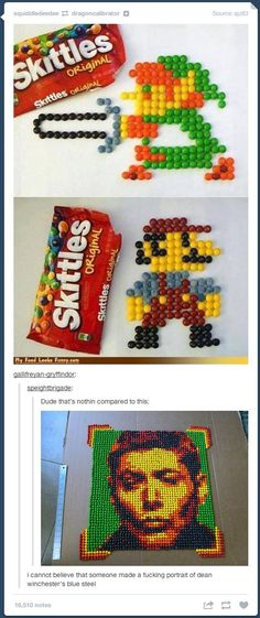 Jensen's blue steel in Skittles<<<<< i would like to point out that Misha Collins paid to have that made!