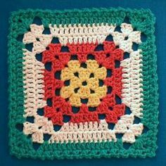 Crochet Granny Square Patterns Nina's At My House: Free Crochet Pattern Motifs Granny Square, Granny Square Blanket, Granny Square Crochet Pattern, Crochet Blocks, Crochet Squares, Crochet Motif, Crochet Stitches, Free Crochet, Crochet Patterns