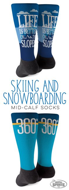 Life is better on the slopes when you wear these colorful and comfortable socks. Whether you ski or snowboard, these socks celebrate your love of the sport. A great gift anytime of the year on or off the slopes.