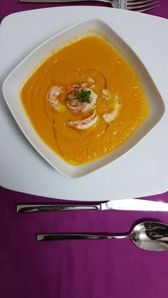 #carrot #soup and #shrimps