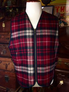L.L. Bean Red Wool Plaid Fleece Lined Men's by TheMaineVintage