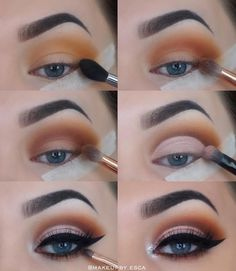 Step by step eye makeup look, cut crease glitter shimmer and black eye liner.