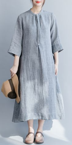 stand collar Three Quarter sleeve linen clothes For Women top quality des. -Modern stand collar Three Quarter sleeve linen clothes For Women top quality des. Linen Dresses, Women's Dresses, Floral Dresses, Dresses Online, T-shirt Rock, Outfits Dress, Formal Outfits, Mode Turban, Dress Skirt