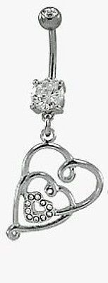 Triple Heart Belly Ring Navel Ring 14g (1.6 mm), Clear, Surgical Steel