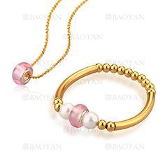 juego collar y pulsera de perla blanca y cristal rosado con bola acero dorado inoxidable -SSNEG183582