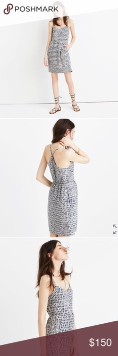 """Madewell Silk Dress Madewell Silk dress.  NWT.  A flattering weekday-to-weekend silk dress in a unique brushstroke print. The bare top combines delicate adjustable straps with a sleek cutaway back (pop on a jean jacket when you head indoors).  Perfect and light for this season.  Waisted. Falls 29"""" from highest point of bodice. Silk. Lined. Madewell Dresses Mini"""