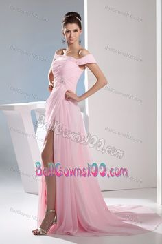 Off The Shoulder Ruched Beading Light Pink Military Ball Attire