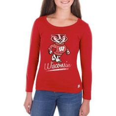 Ncaa Wisconsin Badgers Girls Long Sleeve Scoop Neck Tee, Size: Large, Red