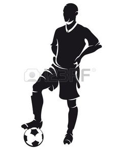Vector football (soccer) player standing silhouette with ball isolated photo