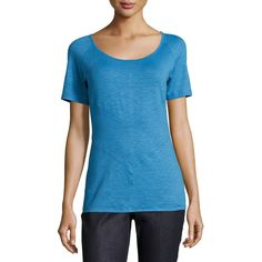 Lafayette 148 New York Seamed Scoop-Neck Raglan Tee ($65) ❤ liked on Polyvore featuring tops, t-shirts, blue grott, short sleeve raglan t-shirt, blue tee, raglan pullover, raglan tee and form fitting t shirts