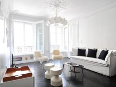 Arrondissement Eiffel Tower apartment rental - so lovely! Paris Apartments, Rental Apartments, Tower Apartment, French Apartment, Ideal Home, Dining Bench, Vacation, Living Room, Luxury