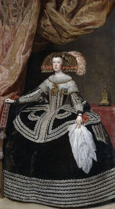 Portrait of Mariana of Austria, Queen of Spain, circa by Diego Velazquez. It appears that she wears The Pond & The Pilgrim, featuring La Peregrina, in her hair. Mariana was Philip IV's second wife. Infanta Margarita, Erwin Olaf, Spanish Painters, Spanish Artists, Fashion History, Fashion Art, Baroque Fashion, Diego Velazquez, Francisco Jose
