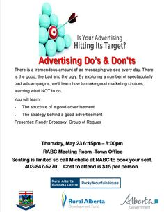 Don't miss this workshop! Packed with valuable information to kick your advertising up a notch and make sure your hitting your target customers! Call today to book your spot 403-847-5270