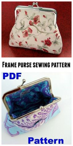 Frame purse sewing pattern. Purse Patterns Free, Handbag Patterns, Bag Patterns To Sew, Sewing Patterns, Wallet Sewing Pattern, Coin Purse Pattern, Coin Purses, Purses And Handbags, Project Ideas