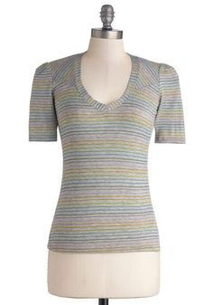 Any Endeavor Top - Knit, Multi, Grey, Stripes, 80s, Short Sleeves, V Neck, Casual, Vintage Inspired, Exclusives, Mid-length, Grey, Short Sle...