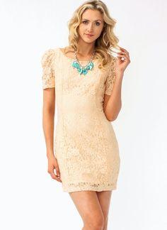 Floral Lace Dress - peach
