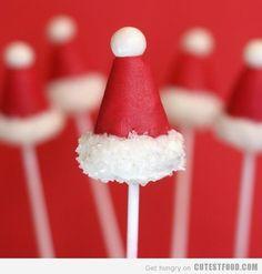 Santa Hat Cake Pops