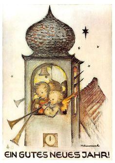 "vintage unused  greeting cards  ARS SACRA  B. Hummel "" happy new year ""1194"""