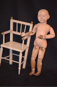 Antique Wood Chair For Doll Miniature Gorgeous Original Old Paint