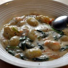 Olive Garden Chicken And Gnocchi Soup. I just tried this recipe and it was delicious.  I found gnocchi at dollar tree.
