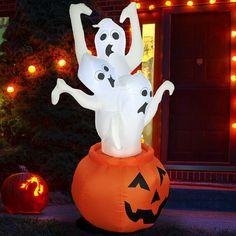 Halloween Inflatable Pumpkin with 3 Three Ghosts Airblown Outdoor Yard Decor Halloween Yard Decorations, Halloween Pumpkins, Christmas Decorations, Christmas Trees, Yard Inflatables, Halloween Inflatables, Pumpkin Reaper, Inflatable Pumpkin, Yard Party