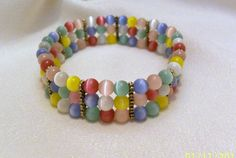 Beaded Cuff Bracelet Pastel Colored Cats by CreationsByJanetUSA, $25.00
